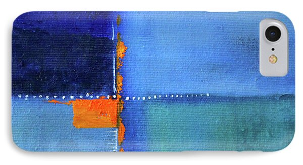 IPhone Case featuring the painting Blue Window Abstract by Nancy Merkle