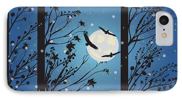 IPhone Case featuring the digital art Blue Winter Moon by Kim Prowse