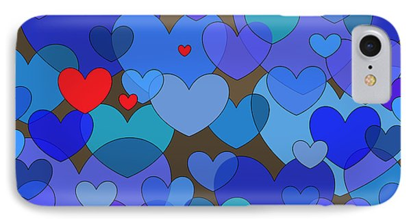 Blue Hearts IPhone Case by Val Arie