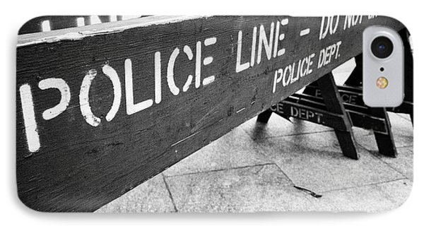blue wooden police line do not cross nypd crowd traffic barrier New York City USA IPhone Case