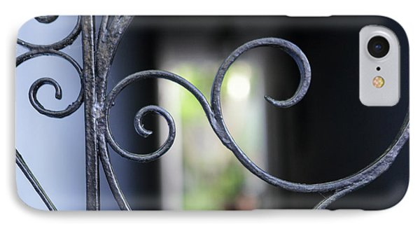 IPhone Case featuring the photograph Blue Wrought Iron Scroll by Heather Green