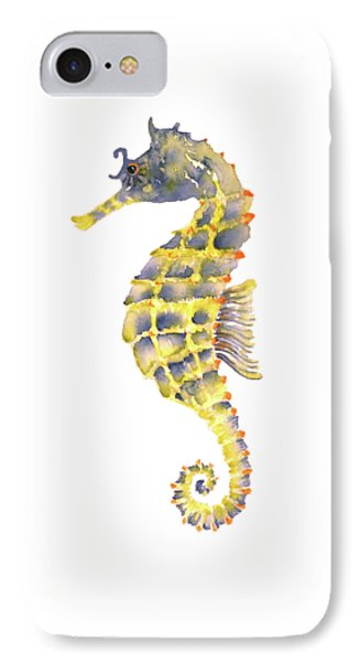 Blue Yellow Seahorse - Square IPhone Case by Amy Kirkpatrick