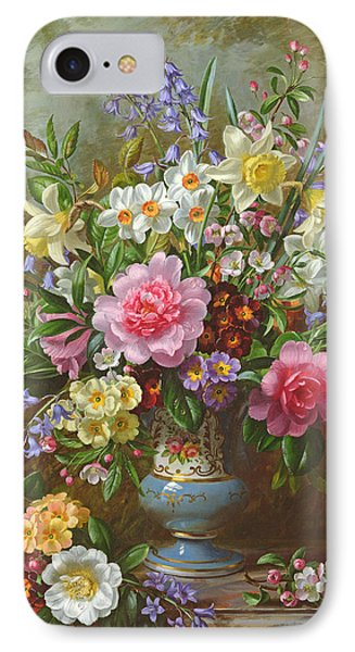 Bluebells Daffodils Primroses And Peonies In A Blue Vase IPhone Case by Albert Williams