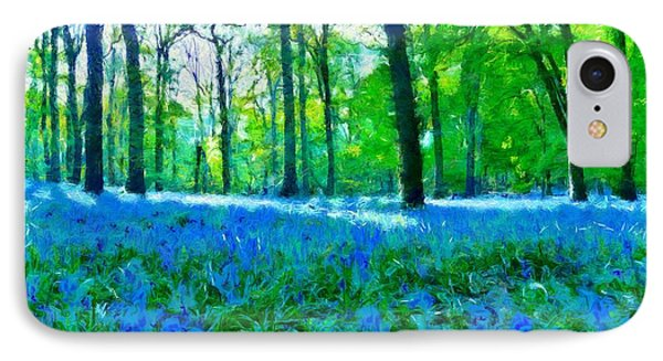 Bluebells In Woodland IPhone Case by Scott Carruthers