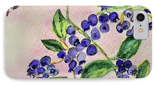 IPhone Case featuring the painting Blueberries by Kim Nelson