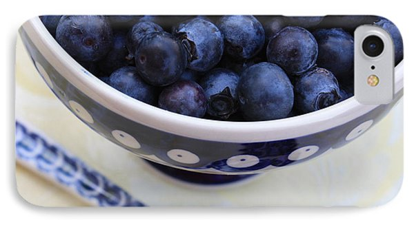 Blueberries With Spoon Phone Case by Carol Groenen