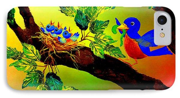 Bluebird Baby Breakfast IPhone Case by Hanne Lore Koehler