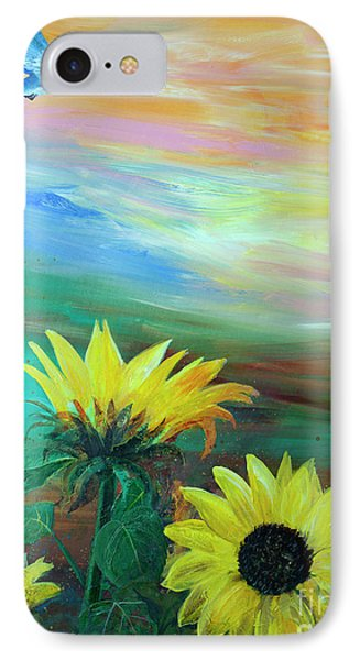 Bluebird Flying Over Sunflowers IPhone Case