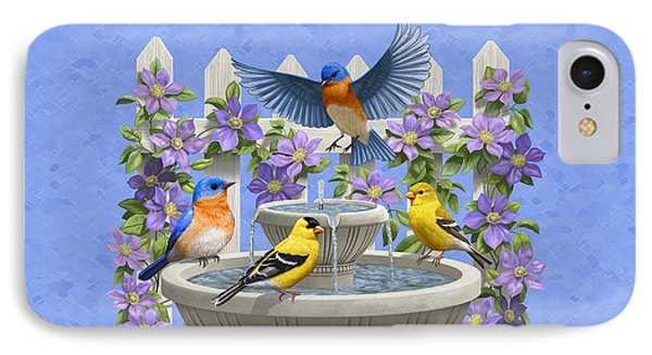 Bluebird Goldfinch Birdbath Garden Light Blue IPhone Case by Crista Forest