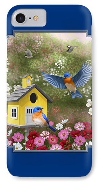 Bluebirds And Yellow Birdhouse IPhone 7 Case by Crista Forest