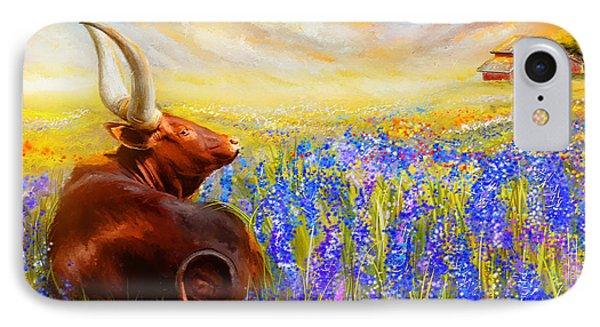 Bluebonnet Dream - Bluebonnet Paintings IPhone Case by Lourry Legarde