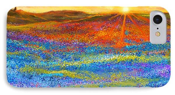 Bluebonnet Horizon - Bluebonnet Field Sunset IPhone Case by Lourry Legarde