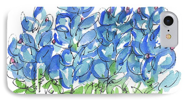 Bluebonnet Dance Whimsey,by Kathleen Mcelwaine Southern Charm Print Watercolor, Painting, IPhone Case by Kathleen McElwaine