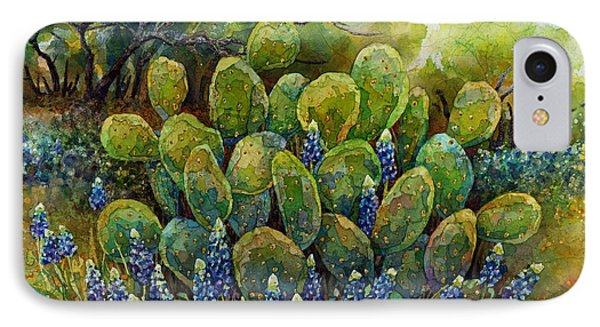 Bluebonnets And Cactus 2 IPhone Case by Hailey E Herrera