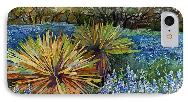IPhone Case featuring the painting Bluebonnets And Yucca by Hailey E Herrera