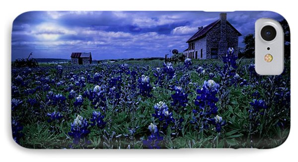 IPhone Case featuring the photograph Bluebonnets In The Blue Hour by Linda Unger