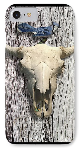 Bluejay iPhone 7 Case - Bluejay And The Buffalo Skull by Gary Grayson