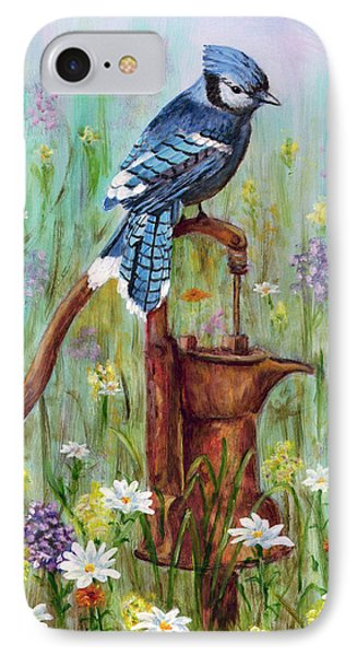 IPhone Case featuring the painting Bluejay Peaceful Perch by Judy Filarecki