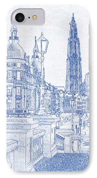 Blueprint Drawing Of Antwerp Suikerrui City Cathedral Buildings IPhone Case by Celestial Images