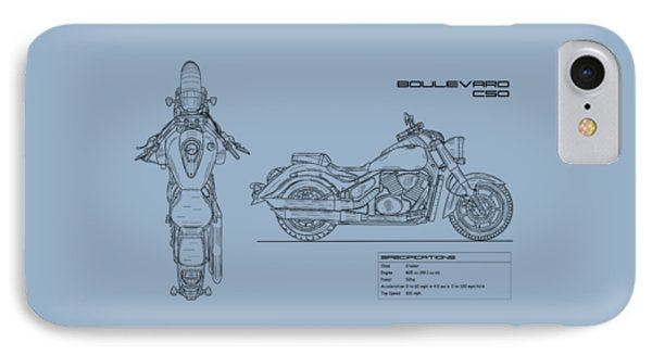 Blueprint Of A Boulevard C50 Motorcycle IPhone Case by Mark Rogan