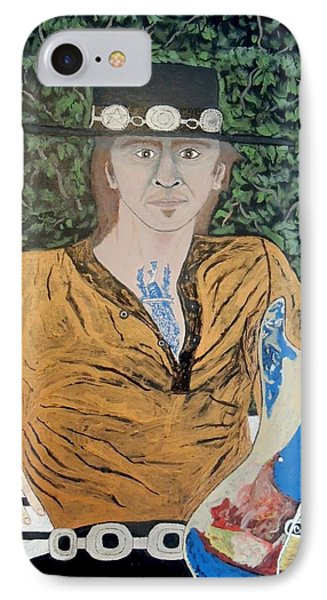 IPhone Case featuring the painting Blues In The Park With Stevie Ray Vaughan. by Ken Zabel