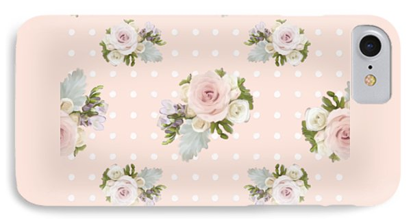Blush Pink Floral Rose Cluster W Dot Bedding Home Decor Art IPhone Case by Audrey Jeanne Roberts