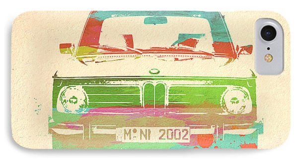 Bmw 2002 Front Watercolor 3 IPhone Case by Naxart Studio
