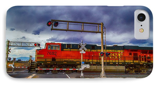 IPhone Case featuring the digital art Bnsf 7682 Crossing by Bartz Johnson