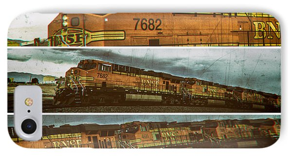 IPhone Case featuring the digital art Bnsf 7682 Triptych  by Bartz Johnson