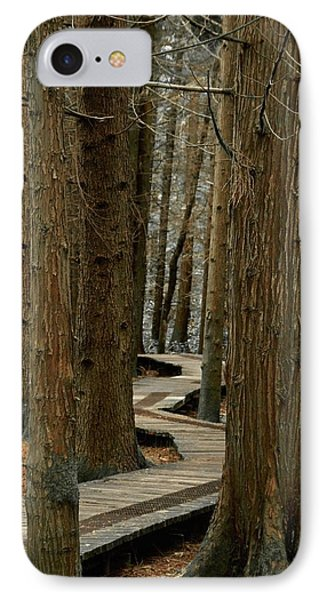 IPhone Case featuring the photograph Boardwalk Among Trees by Scott Holmes