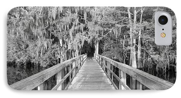 Boardwalk Into The Cypress In Black And White IPhone Case by Adam Jewell