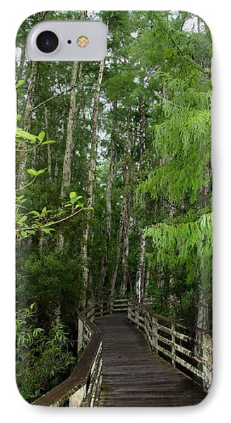 Boardwalk Through The Bald Cypress Strand Phone Case by Barbara Bowen