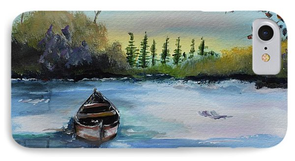 IPhone Case featuring the painting Boat Abandoned On The Lake by Jan Dappen