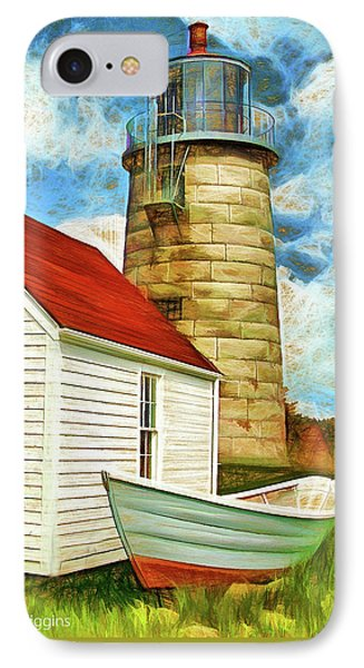 Boat And Lighthouse, Monhegan, Maine Phone Case by Dave Higgins