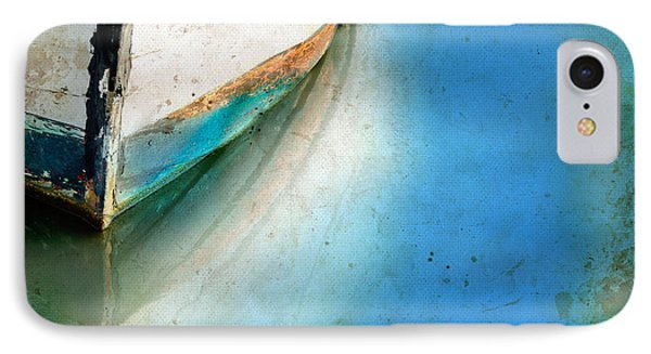 IPhone Case featuring the photograph Bow Of An Old Boat Reflecting In Water by Jill Battaglia