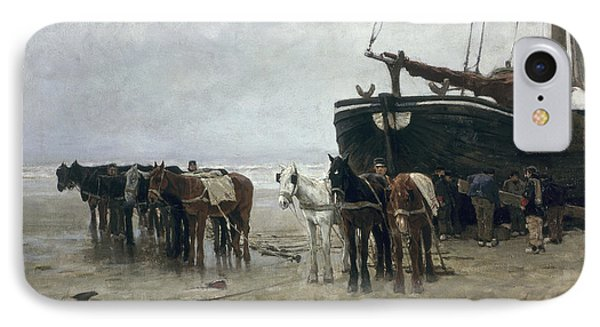 Boat On The Beach At Scheveningen IPhone Case by Anton Mauve