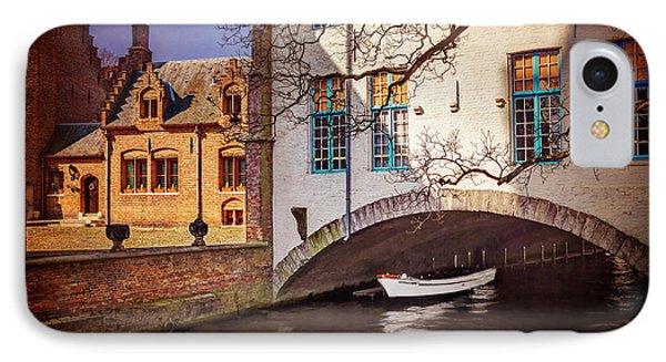 Boat Under A Little Bridge In Bruges  IPhone Case by Carol Japp