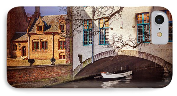 Boat Under A Little Bridge In Bruges  IPhone Case