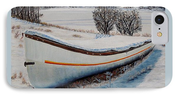 IPhone Case featuring the painting Boat Under Snow by Marilyn  McNish