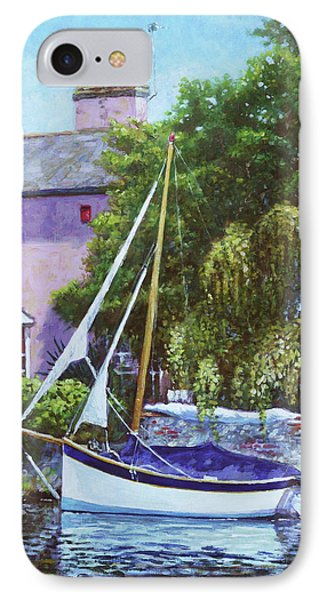 IPhone Case featuring the painting Boat With Pink House On River by Martin Davey