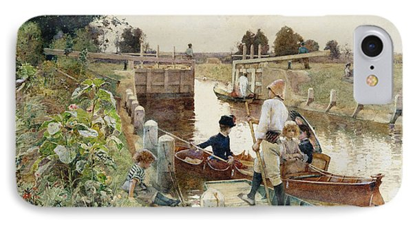 Boaters In A Lock On The Thames IPhone Case