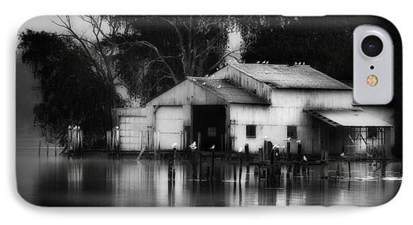 IPhone 7 Case featuring the photograph Boathouse Bw by Bill Wakeley