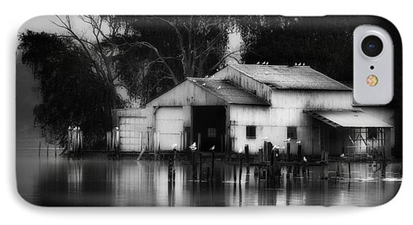 IPhone Case featuring the photograph Boathouse Bw by Bill Wakeley
