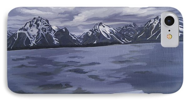 IPhone Case featuring the painting Boating Jenny Lake, Grand Tetons by Erin Fickert-Rowland