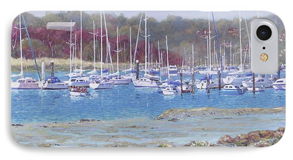 IPhone Case featuring the painting Boats At Hamble Marina by Martin Davey