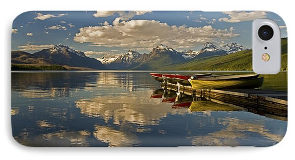 IPhone 7 Case featuring the photograph Boats At Lake Mcdonald by Gary Lengyel