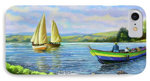 IPhone Case featuring the painting Boats At Lake Victoria by Anthony Mwangi