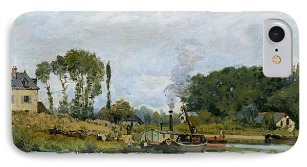 Boats At The Lock At Bougival Phone Case by Alfred Sisley