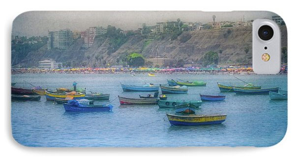 IPhone Case featuring the photograph Boats In Blue Twilight - Lima, Peru by Mary Machare