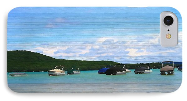 Boats In Sleeping Bear Bay Wood Texture IPhone Case by Dan Sproul